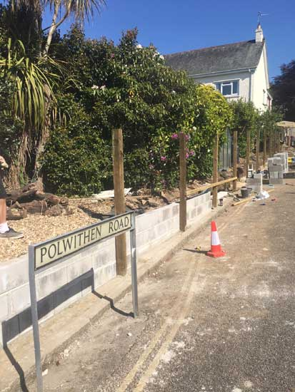 New Retaining Wall, Polwithen Road